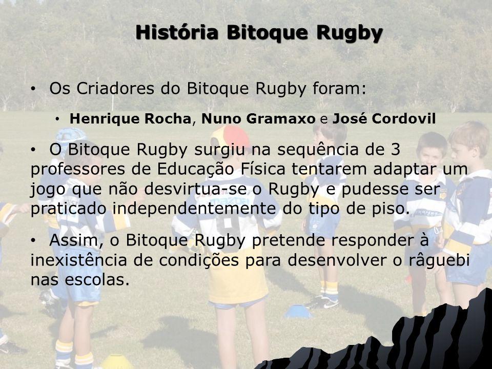 História Bitoque Rugby Os Criadores do Bitoque Rugby foram: Henrique Rocha, Nuno Gramaxo e José Cordovil O Bitoque Rugby surgiu na sequência de 3 professores de Educação Física tentarem adaptar um jogo que não desvirtua-se o Rugby e pudesse ser praticado independentemente do tipo de piso.
