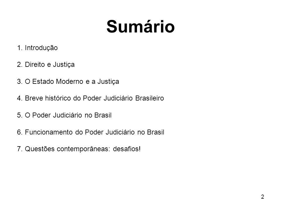 2 Sumário 1. Introdução 2. Direito e Justiça 3. O Estado Moderno e a Justiça 4. Breve histórico do Poder Judiciário Brasileiro 5. O Poder Judiciário n