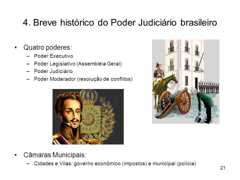 4. Breve histórico do Poder Judiciário brasileiro Quatro poderes: –Poder Executivo –Poder Legislativo (Assembléia Geral) –Poder Judiciário –Poder Mode