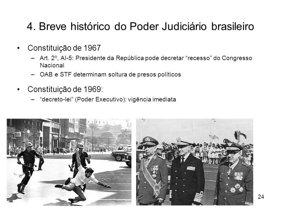 4. Breve histórico do Poder Judiciário brasileiro Constituição de 1967 –Art. 2º, AI-5: Presidente da República pode decretar recesso do Congresso Naci