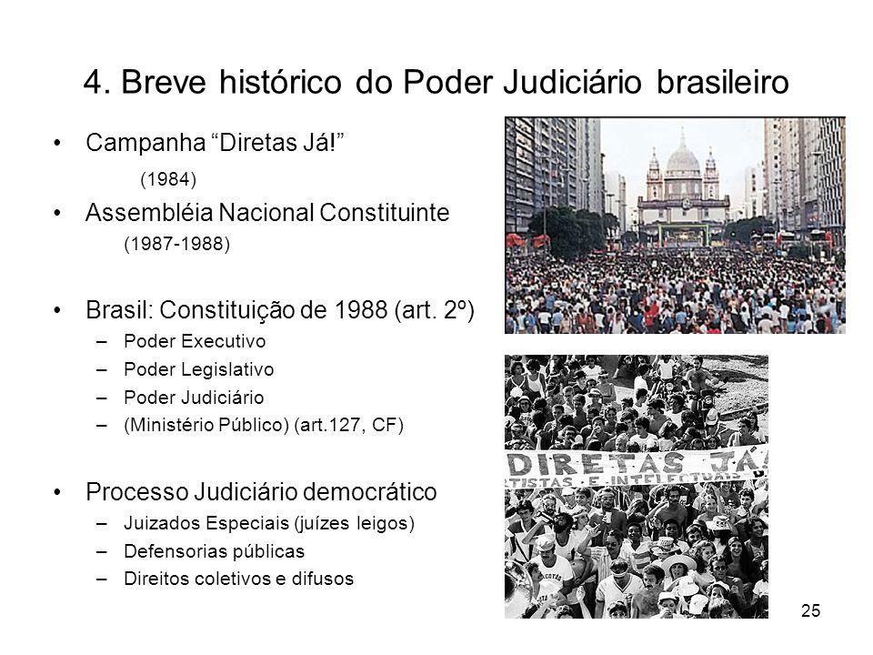 4. Breve histórico do Poder Judiciário brasileiro Campanha Diretas Já! (1984) Assembléia Nacional Constituinte (1987-1988) Brasil: Constituição de 198