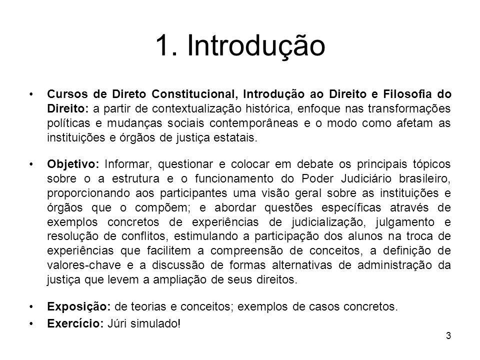 3 1. Introdução Cursos de Direto Constitucional, Introdução ao Direito e Filosofia do Direito: a partir de contextualização histórica, enfoque nas tra
