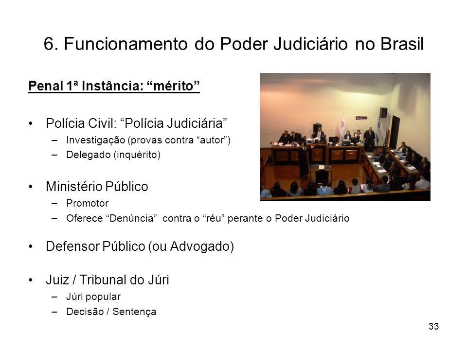 6. Funcionamento do Poder Judiciário no Brasil Penal 1ª Instância: mérito Polícia Civil: Polícia Judiciária –Investigação (provas contra autor) –Deleg