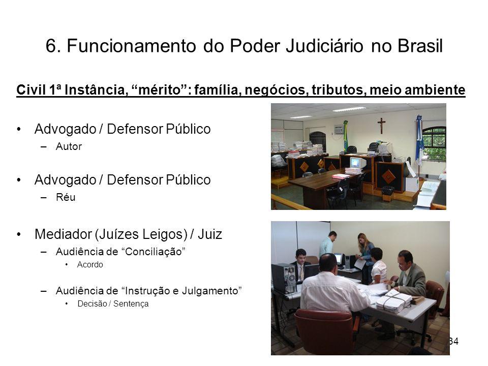 6. Funcionamento do Poder Judiciário no Brasil Civil 1ª Instância, mérito: família, negócios, tributos, meio ambiente Advogado / Defensor Público –Aut