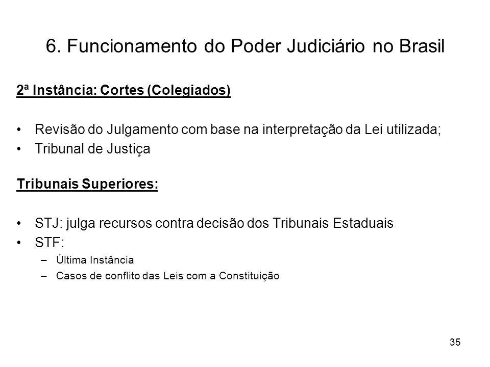 6. Funcionamento do Poder Judiciário no Brasil 2ª Instância: Cortes (Colegiados) Revisão do Julgamento com base na interpretação da Lei utilizada; Tri