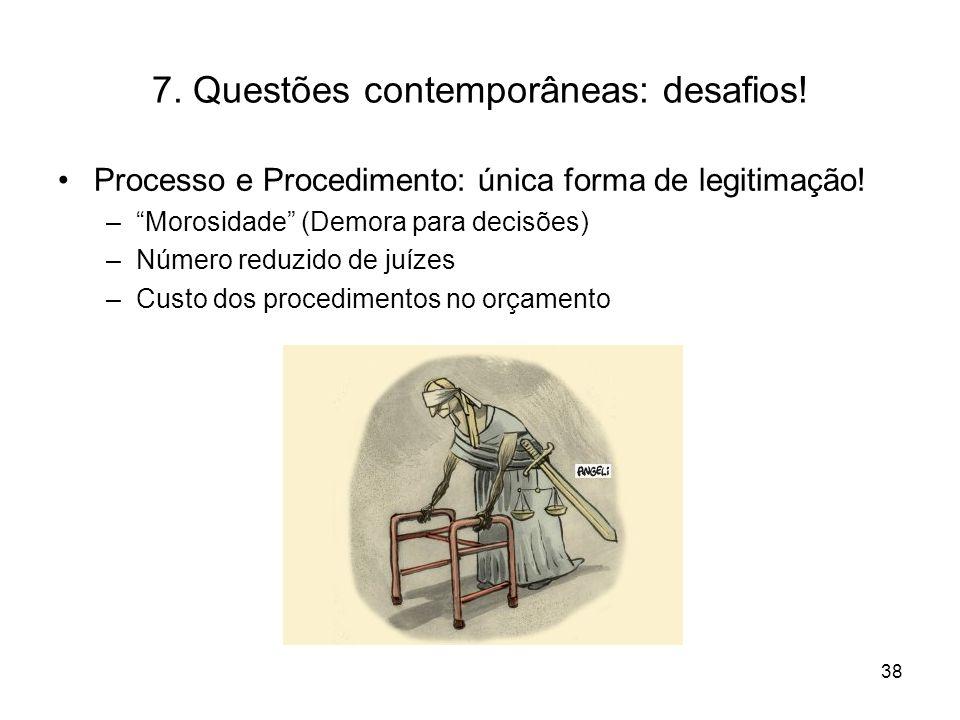 7. Questões contemporâneas: desafios! Processo e Procedimento: única forma de legitimação! –Morosidade (Demora para decisões) –Número reduzido de juíz