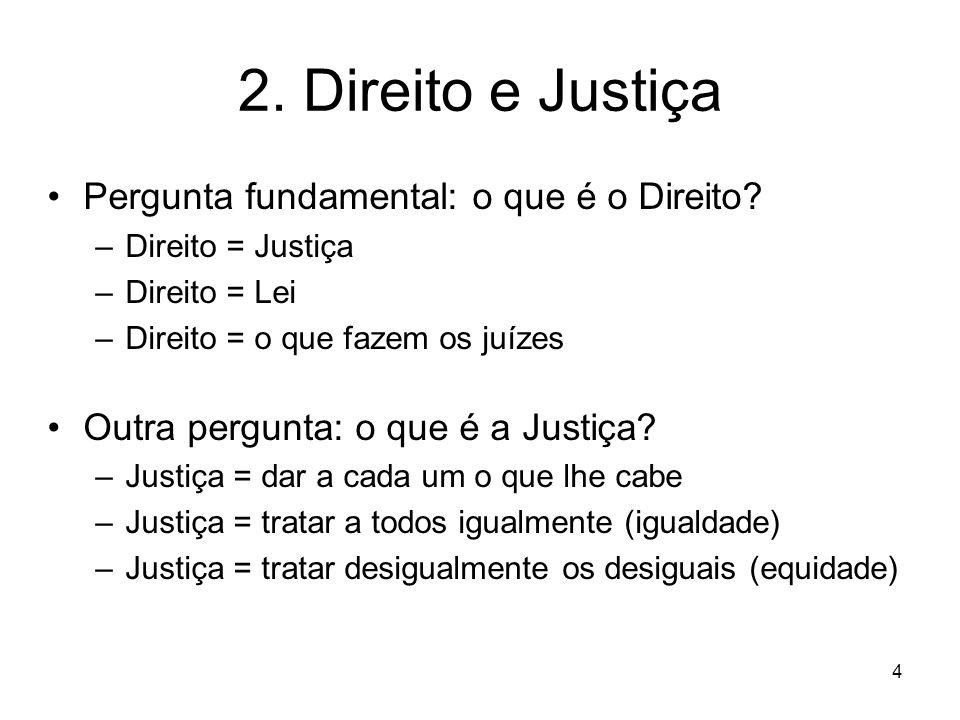 2. Direito e Justiça Pergunta fundamental: o que é o Direito? –Direito = Justiça –Direito = Lei –Direito = o que fazem os juízes Outra pergunta: o que