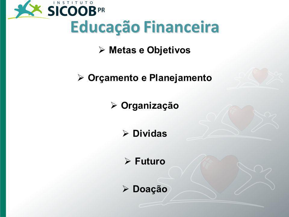 Educação Financeira Metas e Objetivos Orçamento e Planejamento Organização Dividas Futuro Doação