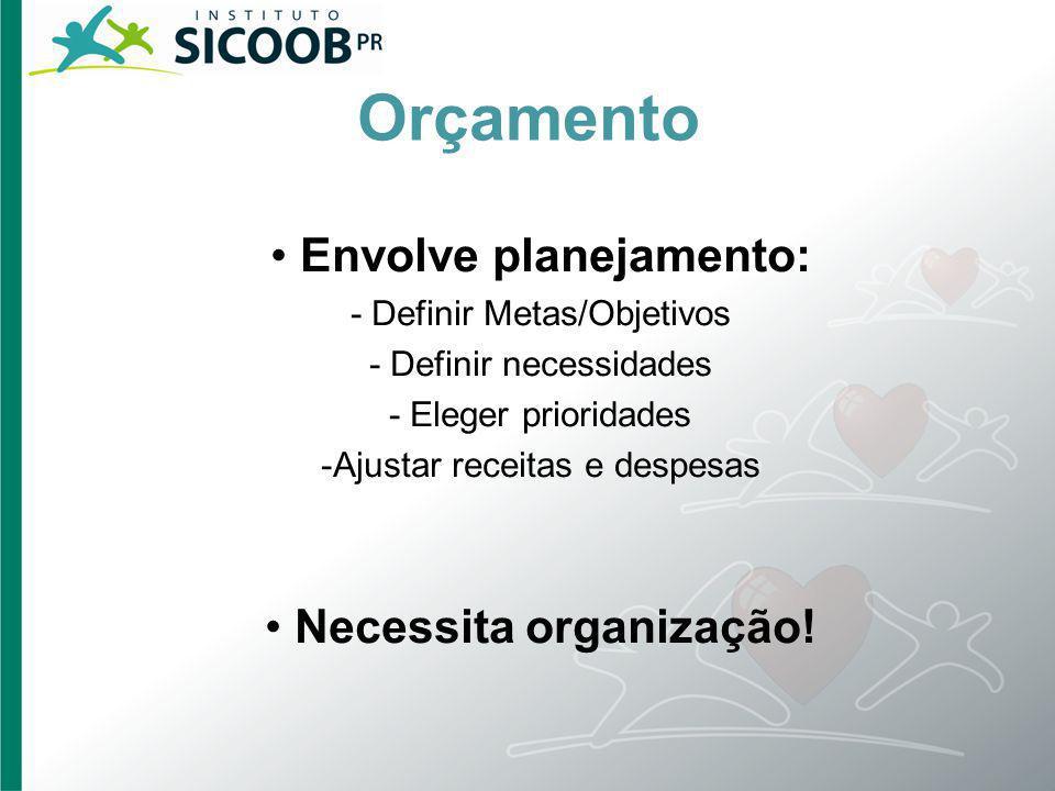 Orçamento Envolve planejamento: - Definir Metas/Objetivos - Definir necessidades - Eleger prioridades -Ajustar receitas e despesas Necessita organizaç