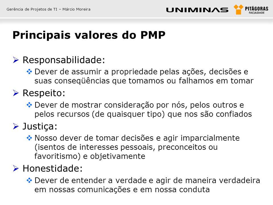 Gerência de Projetos de TI – Márcio Moreira Principais valores do PMP Responsabilidade: Dever de assumir a propriedade pelas ações, decisões e suas co