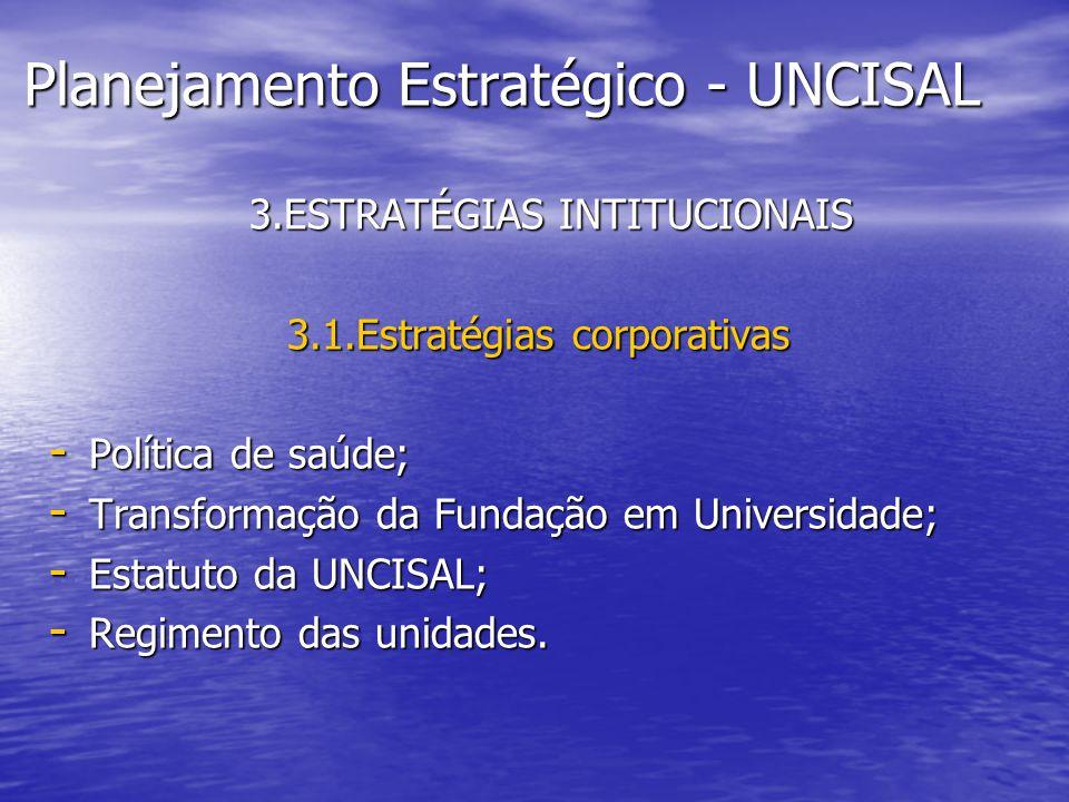 Planejamento Estratégico - UNCISAL 3.ESTRATÉGIAS INTITUCIONAIS 3.ESTRATÉGIAS INTITUCIONAIS 3.1.Estratégias corporativas - Política de saúde; - Transfo