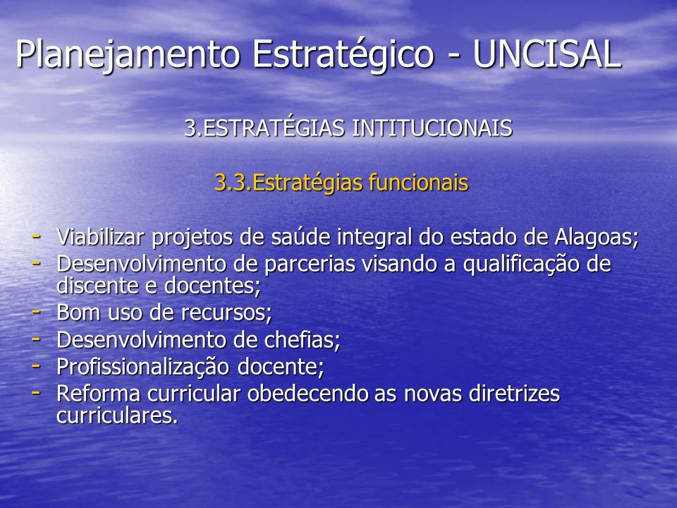 Planejamento Estratégico - UNCISAL 3.ESTRATÉGIAS INTITUCIONAIS 3.ESTRATÉGIAS INTITUCIONAIS 3.3.Estratégias funcionais - Viabilizar projetos de saúde i