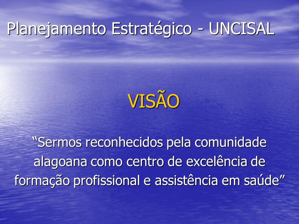 Planejamento Estratégico - UNCISAL VISÃO VISÃO Sermos reconhecidos pela comunidade alagoana como centro de excelência de formação profissional e assis