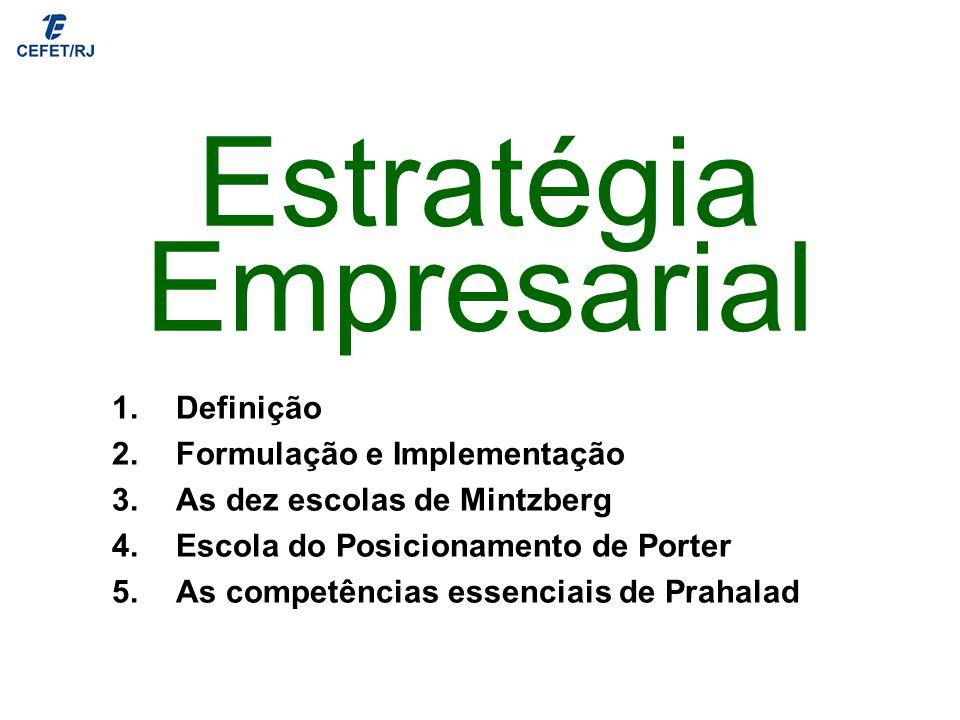 Estratégia Empresarial 1.Definição 2.Formulação e Implementação 3.As dez escolas de Mintzberg 4.Escola do Posicionamento de Porter 5.As competências e