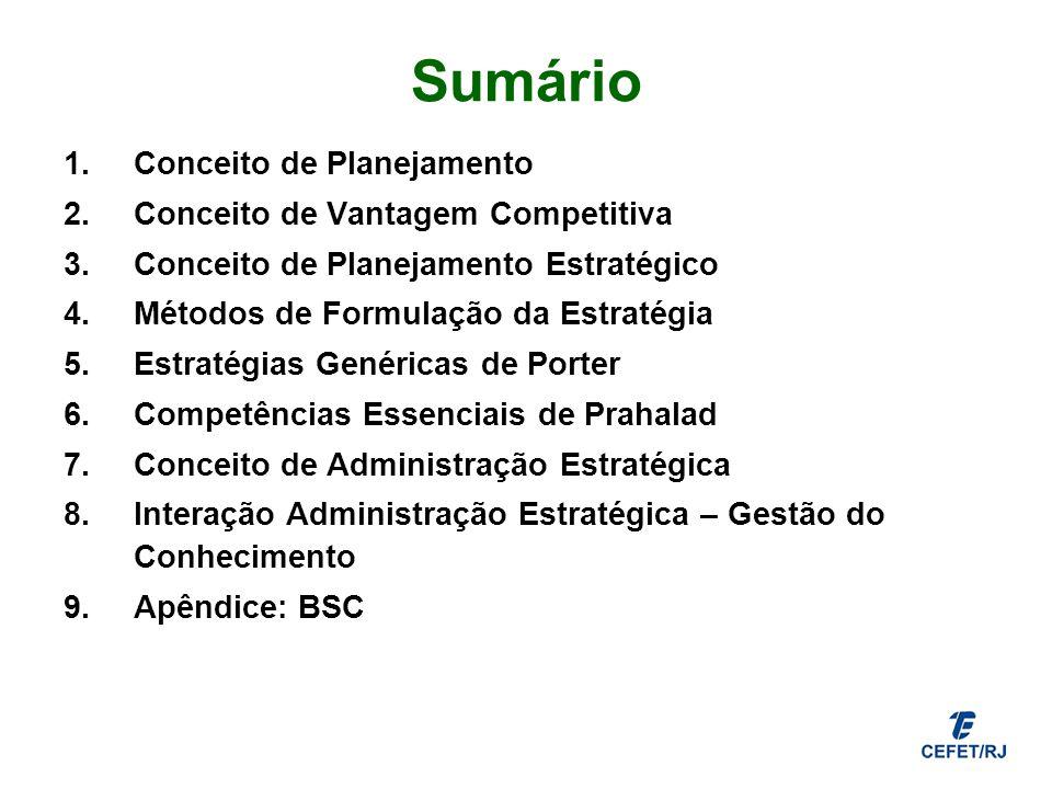 Sumário 1.Conceito de Planejamento 2.Conceito de Vantagem Competitiva 3.Conceito de Planejamento Estratégico 4.Métodos de Formulação da Estratégia 5.E