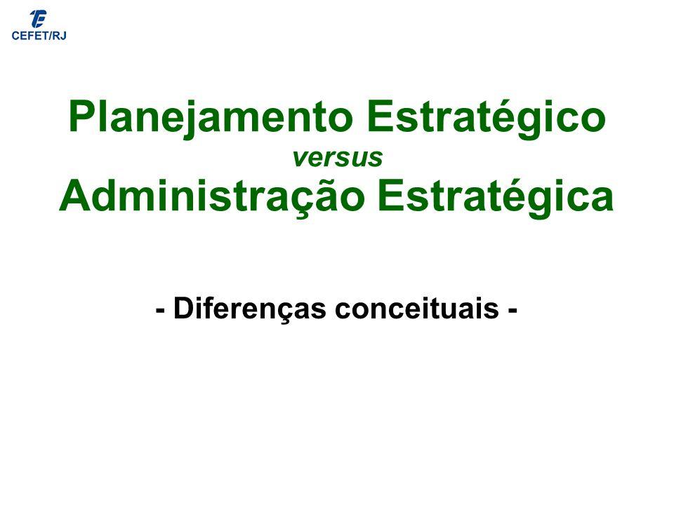Planejamento Estratégico versus Administração Estratégica - Diferenças conceituais -