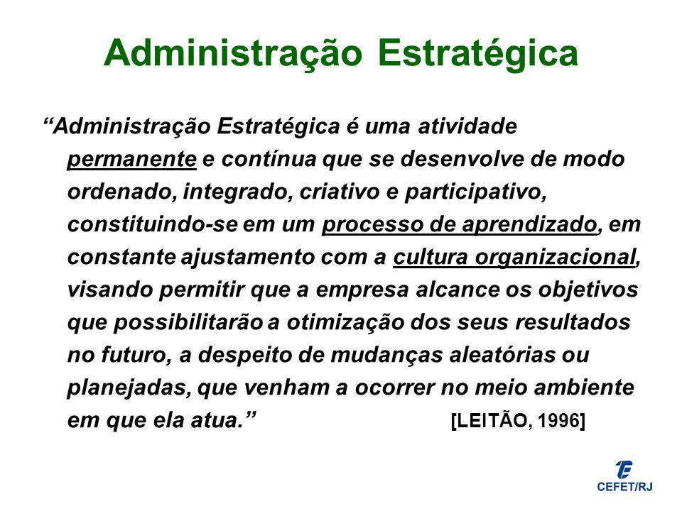 Administração Estratégica Administração Estratégica é uma atividade permanente e contínua que se desenvolve de modo ordenado, integrado, criativo e pa
