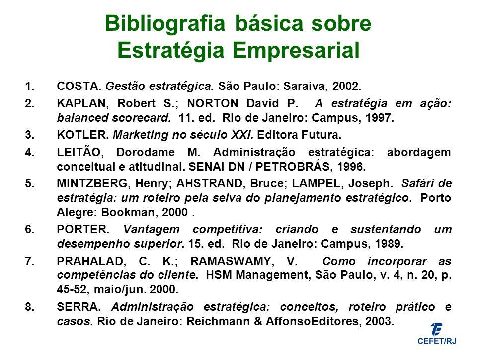 Bibliografia básica sobre Estratégia Empresarial 1.COSTA. Gestão estratégica. São Paulo: Saraiva, 2002. 2.KAPLAN, Robert S.; NORTON David P. A estraté