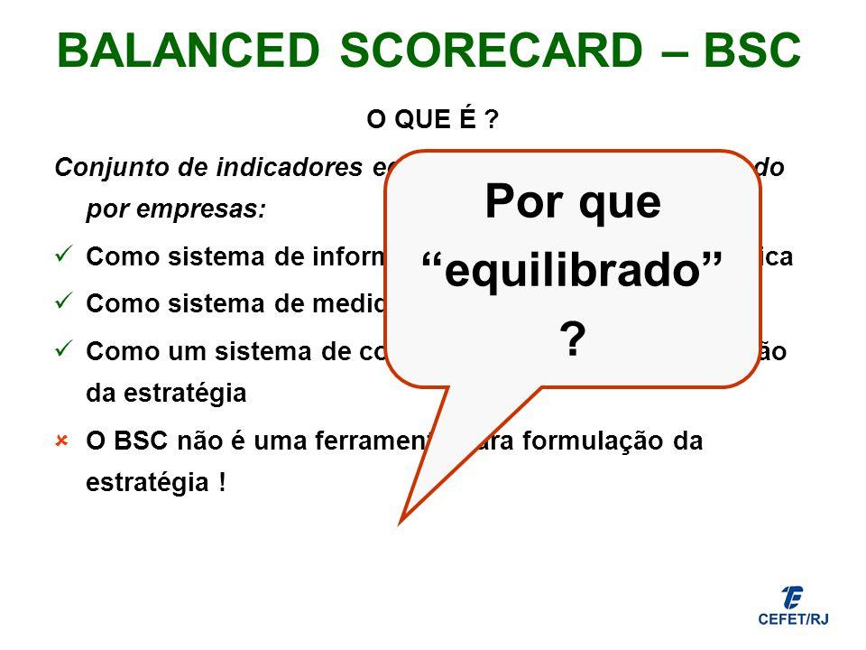 BALANCED SCORECARD – BSC O QUE É ? Conjunto de indicadores equilibrados que tem sido usado por empresas: Como sistema de informações para a gestão est