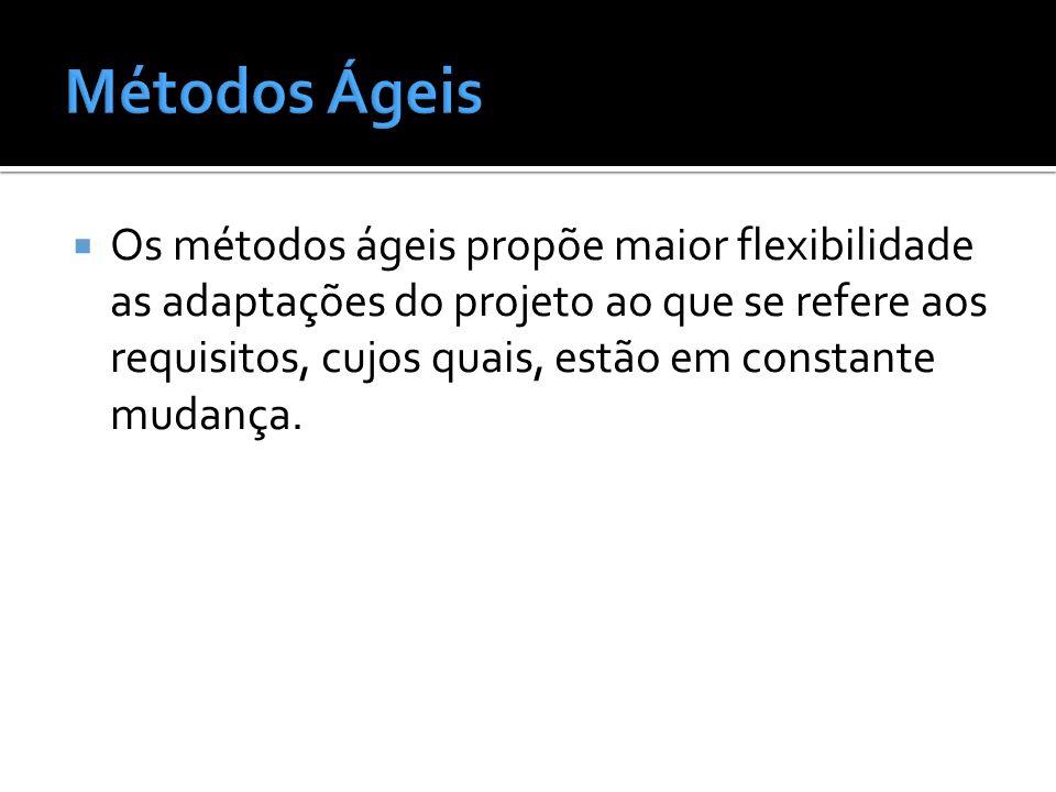 Os métodos ágeis propõe maior flexibilidade as adaptações do projeto ao que se refere aos requisitos, cujos quais, estão em constante mudança.