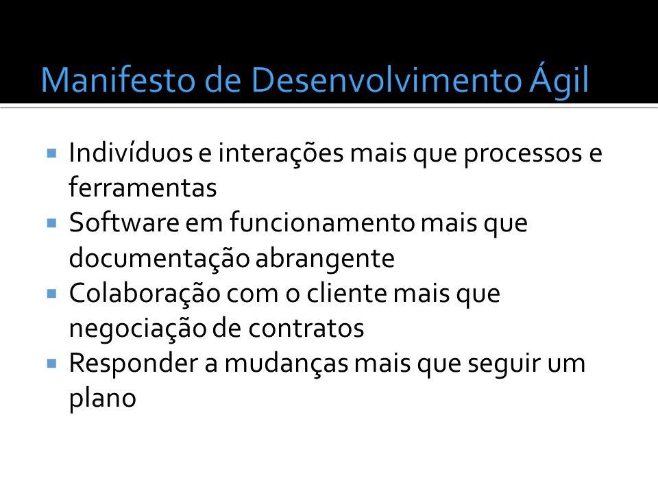 Indivíduos e interações mais que processos e ferramentas Software em funcionamento mais que documentação abrangente Colaboração com o cliente mais que
