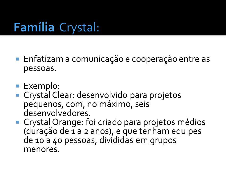 Enfatizam a comunicação e cooperação entre as pessoas. Exemplo: Crystal Clear: desenvolvido para projetos pequenos, com, no máximo, seis desenvolvedor