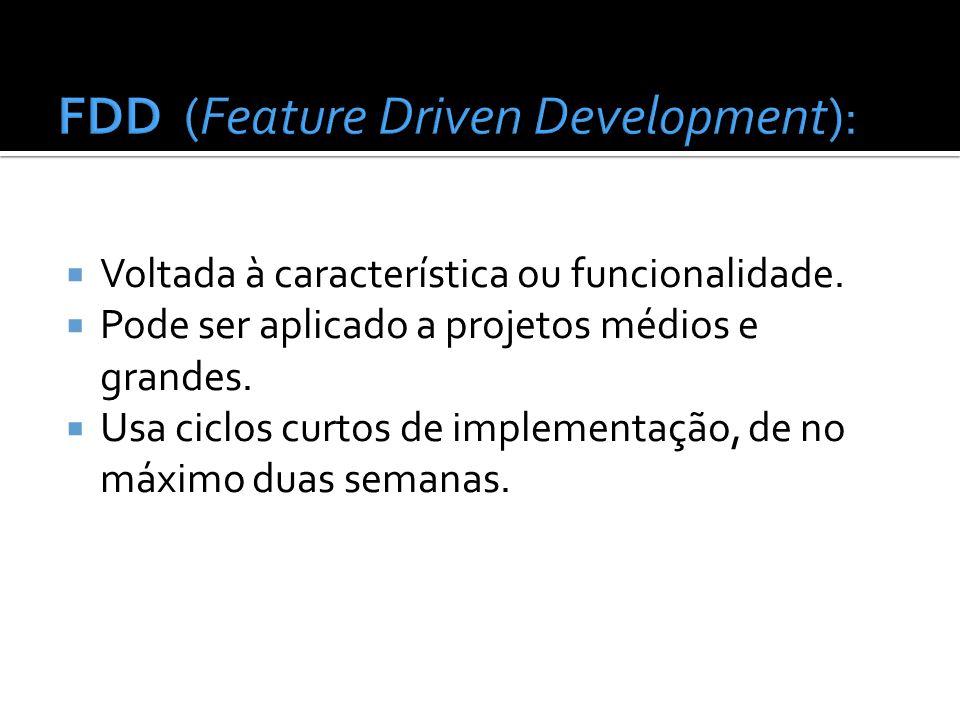 Voltada à característica ou funcionalidade. Pode ser aplicado a projetos médios e grandes. Usa ciclos curtos de implementação, de no máximo duas seman