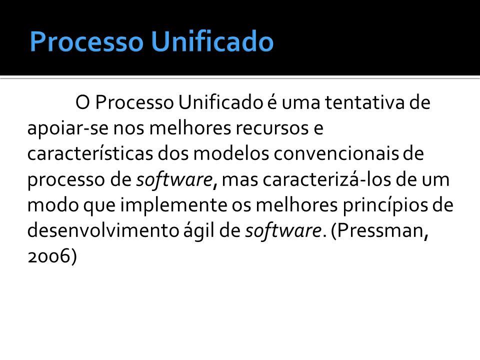 O Processo Unificado é uma tentativa de apoiar-se nos melhores recursos e características dos modelos convencionais de processo de software, mas carac