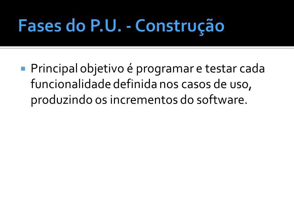 Principal objetivo é programar e testar cada funcionalidade definida nos casos de uso, produzindo os incrementos do software.