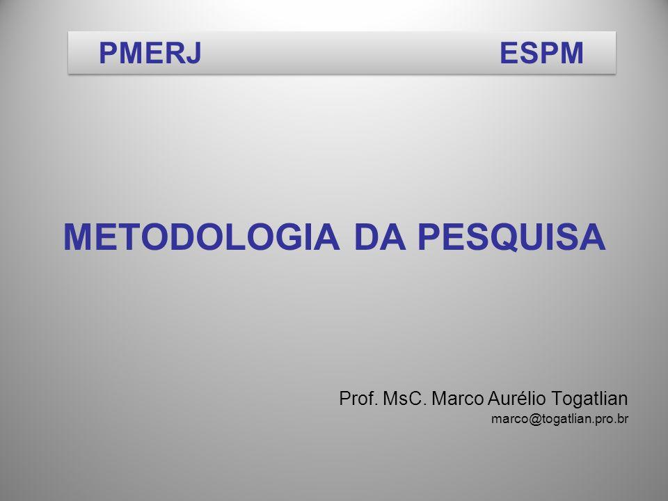 METODOLOGIA DA PESQUISA Prof. MsC. Marco Aurélio Togatlian marco@togatlian.pro.br PMERJESPM