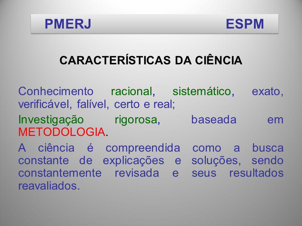 CARACTERÍSTICAS DA CIÊNCIA Conhecimento racional, sistemático, exato, verificável, falível, certo e real; Investigação rigorosa, baseada em METODOLOGIA.