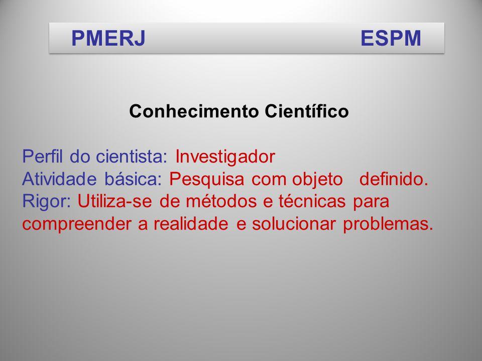 Conhecimento Científico Perfil do cientista: Investigador Atividade básica: Pesquisa com objeto definido.