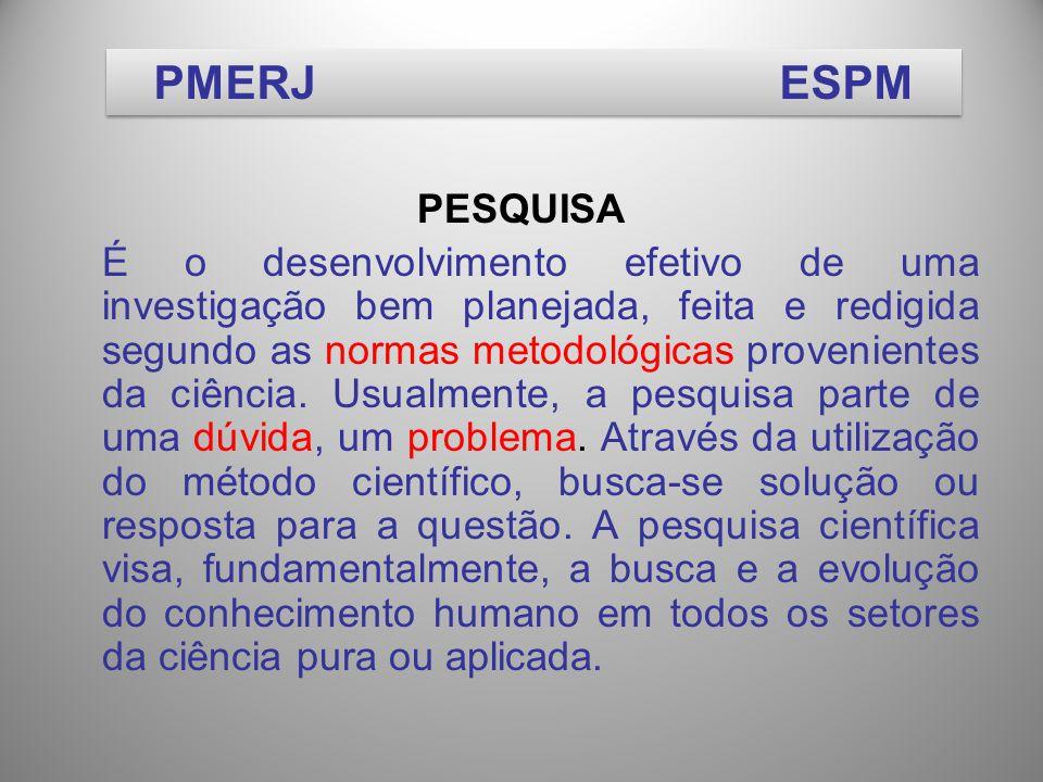 PESQUISA É o desenvolvimento efetivo de uma investigação bem planejada, feita e redigida segundo as normas metodológicas provenientes da ciência.