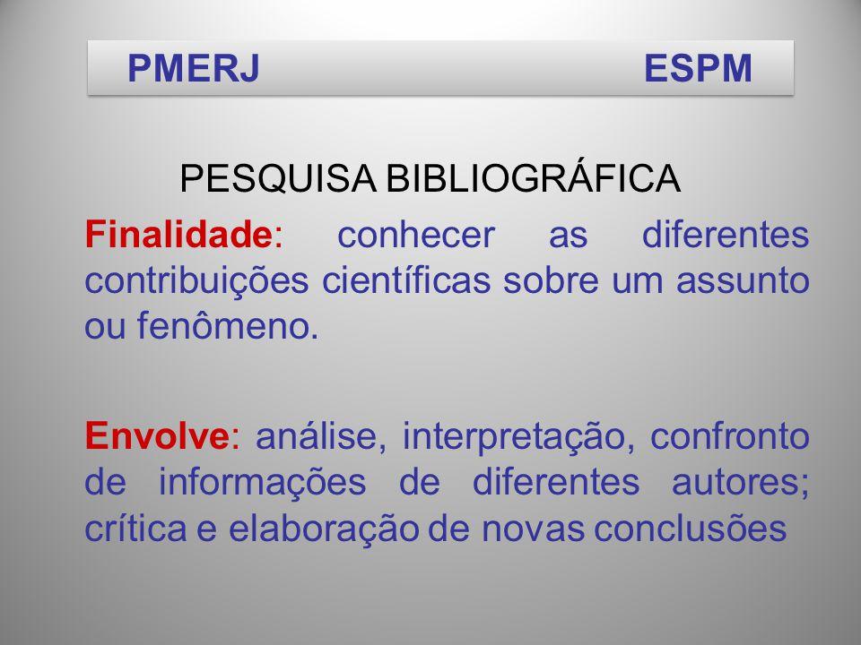 PESQUISA BIBLIOGRÁFICA Finalidade: conhecer as diferentes contribuições científicas sobre um assunto ou fenômeno.