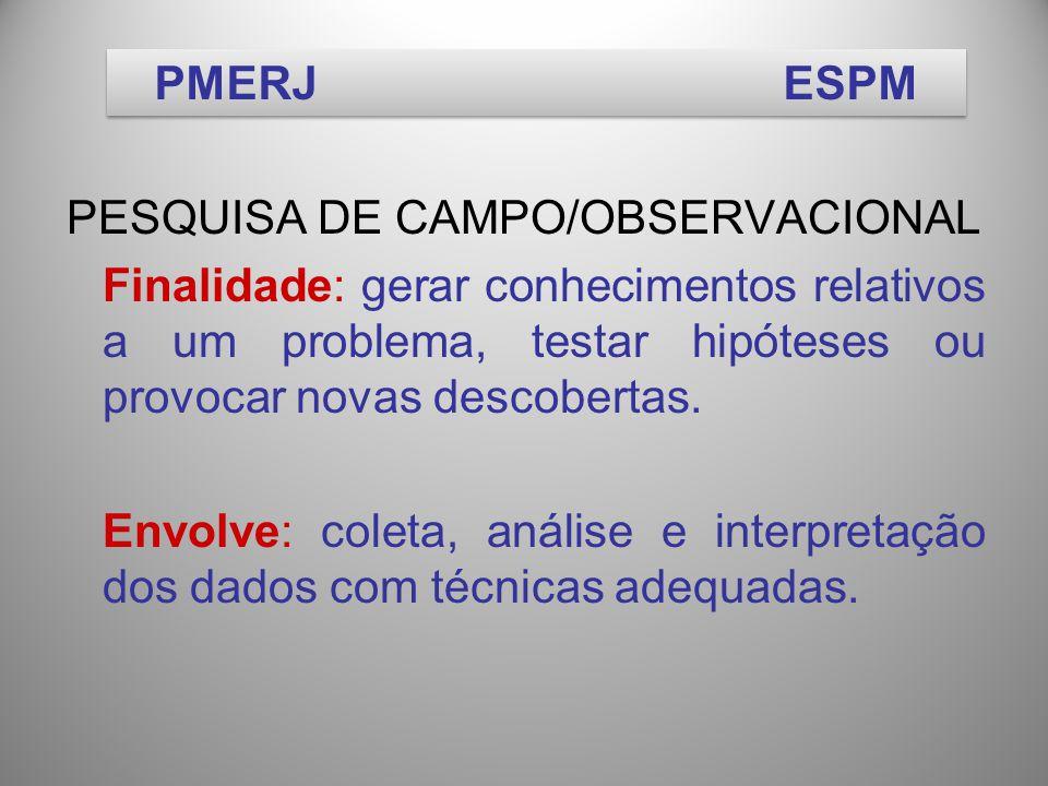 PESQUISA DE CAMPO/OBSERVACIONAL Finalidade: gerar conhecimentos relativos a um problema, testar hipóteses ou provocar novas descobertas.