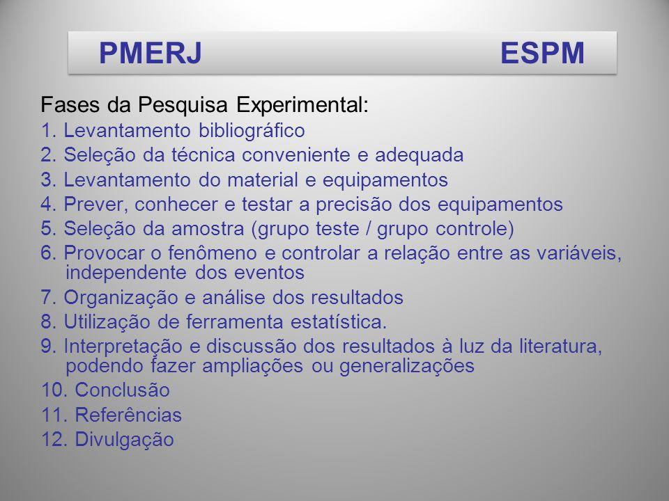 Fases da Pesquisa Experimental: 1.Levantamento bibliográfico 2.