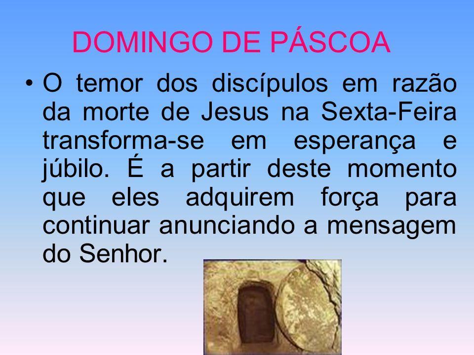 DOMINGO DE PÁSCOA O temor dos discípulos em razão da morte de Jesus na Sexta-Feira transforma-se em esperança e júbilo. É a partir deste momento que e