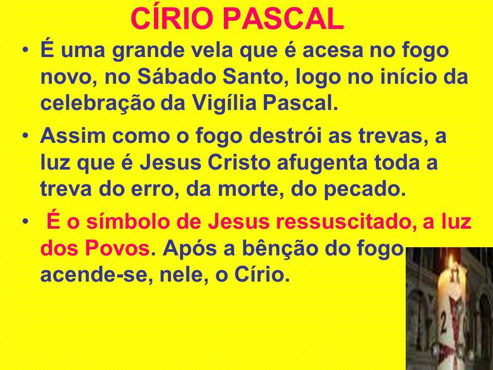CÍRIO PASCAL É uma grande vela que é acesa no fogo novo, no Sábado Santo, logo no início da celebração da Vigília Pascal. Assim como o fogo destrói as