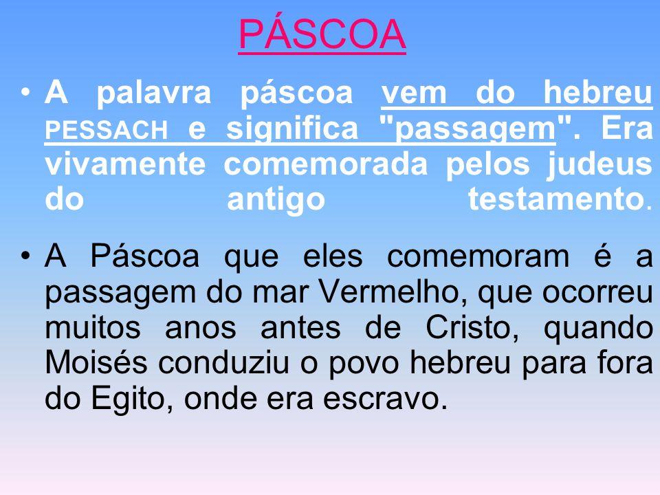 PÁSCOA A palavra páscoa vem do hebreu PESSACH e significa