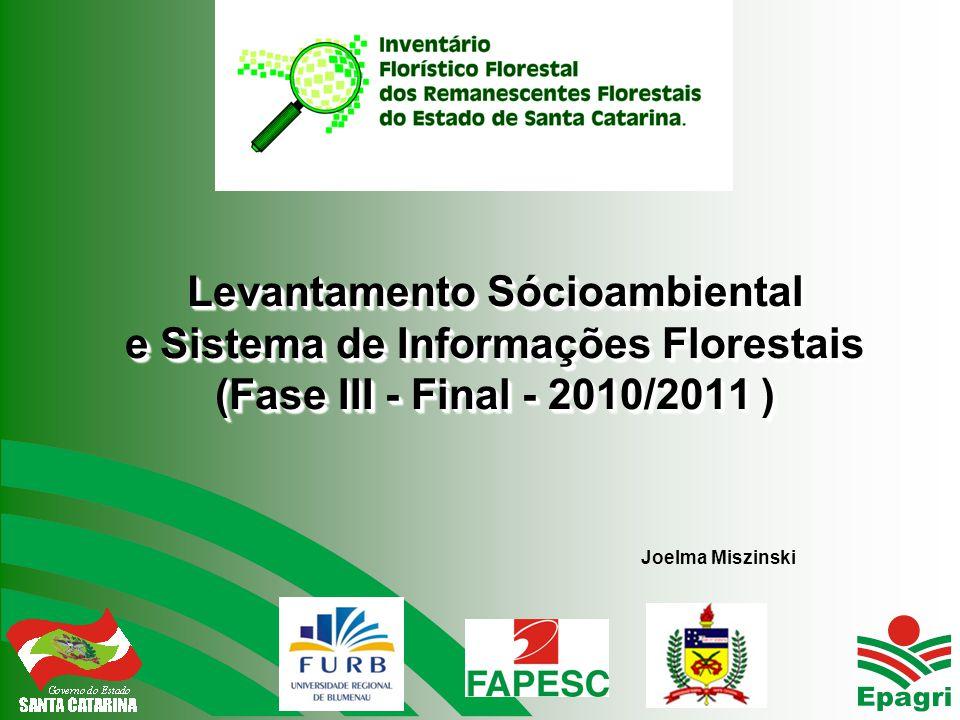 Levantamento Sócioambiental e Sistema de Informações Florestais (Fase III - Final - 2010/2011 ) Joelma Miszinski