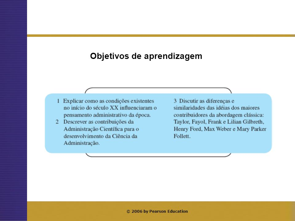 © 2006 by Pearson Education Objetivos de aprendizagem