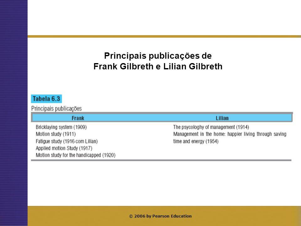 © 2006 by Pearson Education Principais publicações de Frank Gilbreth e Lilian Gilbreth