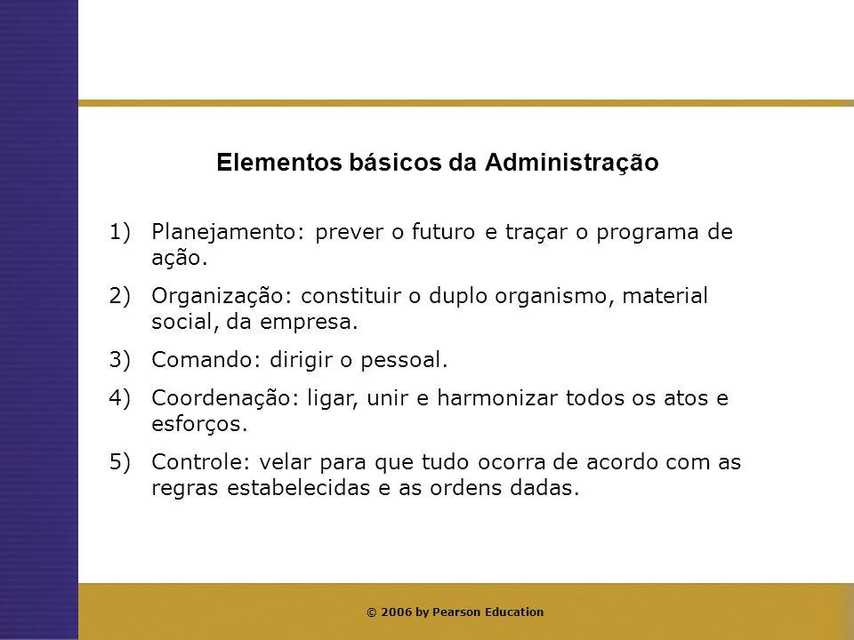 © 2006 by Pearson Education Elementos básicos da Administração 1)Planejamento: prever o futuro e traçar o programa de ação. 2)Organização: constituir