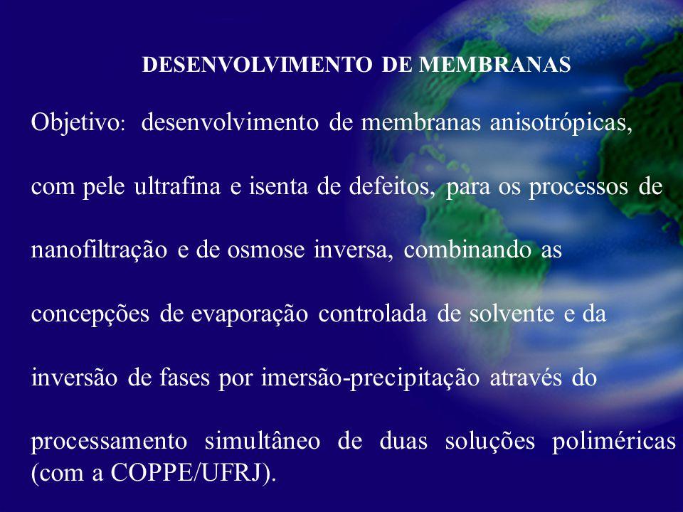 Processamento primário de petróleo DESENVOLVIMENTO DE MEMBRANAS Objetivo : desenvolvimento de membranas anisotrópicas, com pele ultrafina e isenta de defeitos, para os processos de nanofiltração e de osmose inversa, combinando as concepções de evaporação controlada de solvente e da inversão de fases por imersão-precipitação através do processamento simultâneo de duas soluções poliméricas (com a COPPE/UFRJ).