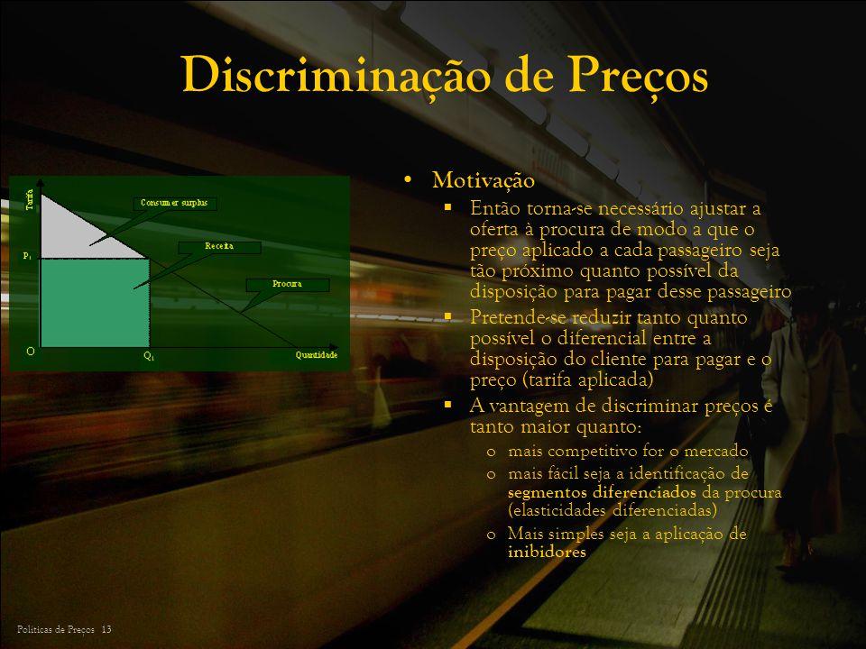 Políticas de Preços 13 Discriminação de Preços Motivação Então torna-se necessário ajustar a oferta à procura de modo a que o preço aplicado a cada pa
