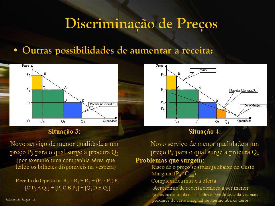 Políticas de Preços 16 Discriminação de Preços Outras possibilidades de aumentar a receita: Situação 3: Novo serviço de menor qualidade a um preço P 3