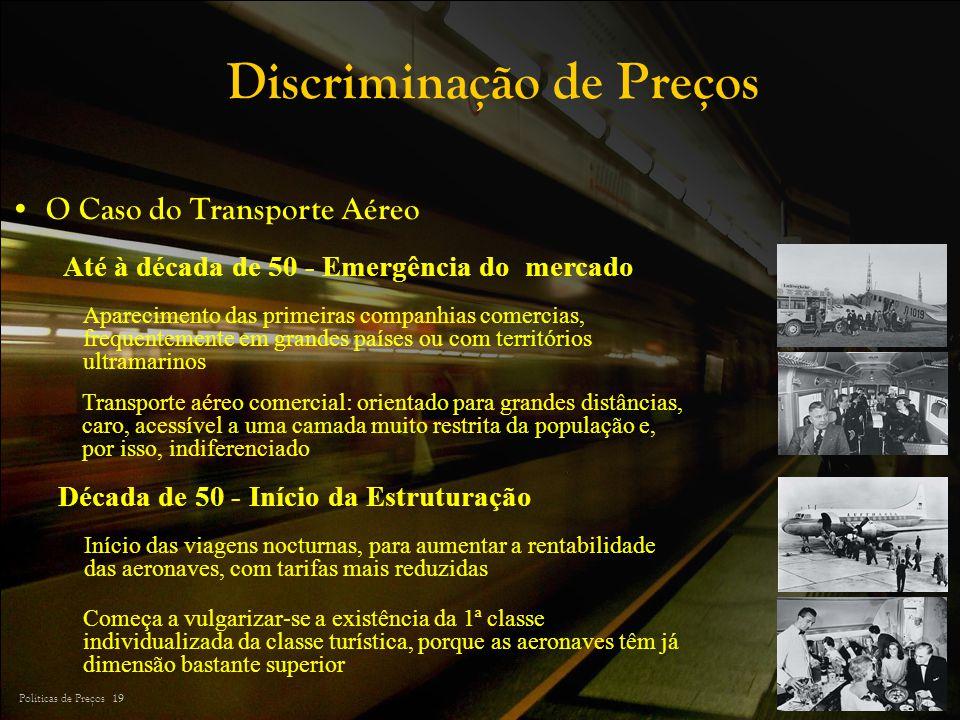 Políticas de Preços 19 Discriminação de Preços Até à década de 50 - Emergência do mercado Transporte aéreo comercial: orientado para grandes distância