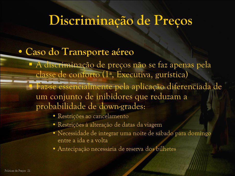 Políticas de Preços 21 Discriminação de Preços Caso do Transporte aéreo A discriminação de preços não se faz apenas pela classe de conforto (1ª, Execu