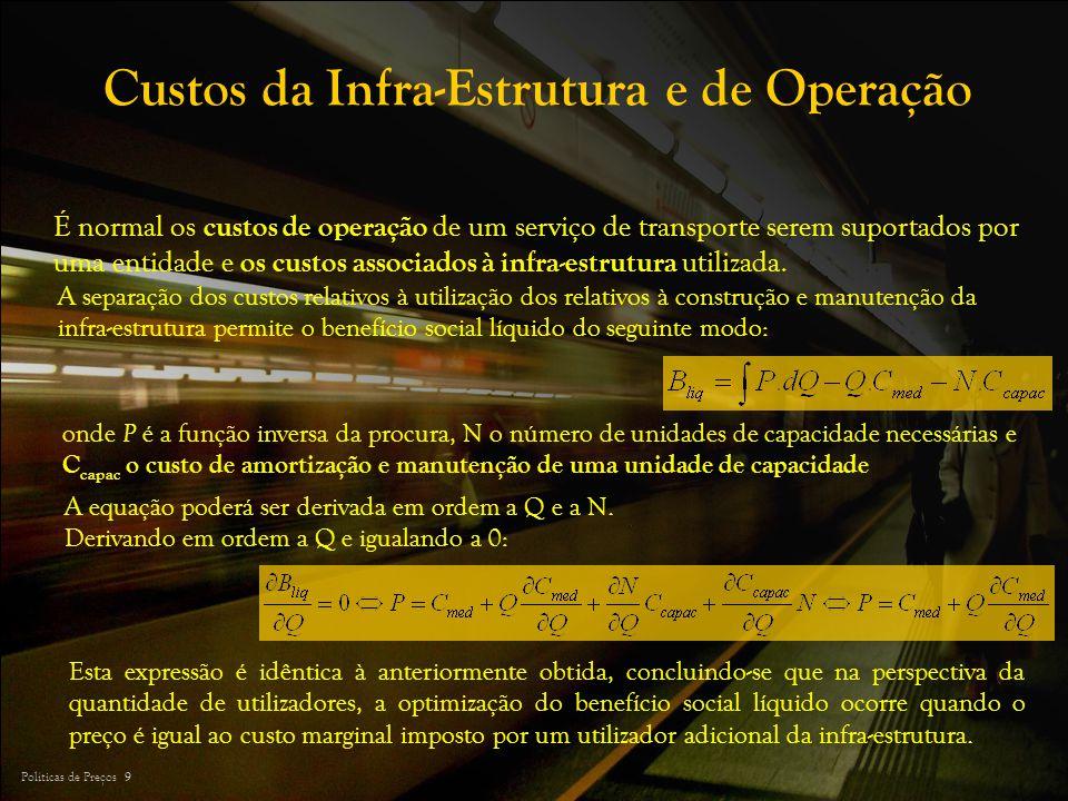 Políticas de Preços 9 Custos da Infra-Estrutura e de Operação É normal os custos de operação de um serviço de transporte serem suportados por uma enti