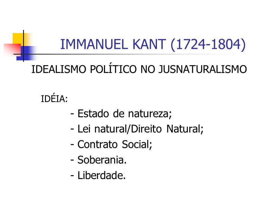IMMANUEL KANT (1724-1804) IDEALISMO POLÍTICO NO JUSNATURALISMO IDÉIA: - Estado de natureza; - Lei natural/Direito Natural; - Contrato Social; - Sobera